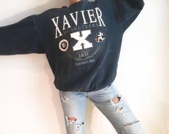 Vintage Oversized Xavier College Sweatshirt