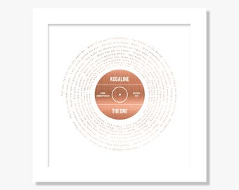 Personalised foil printed favourite song lyrics print gift, gold, silver, copper, any song, any colour scheme