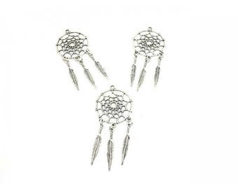 5 charms 3 Silver feathers Dreamcatcher matte 65mm