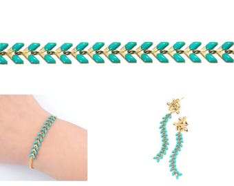0.5 m chain spike chevron gold and green Turquoise