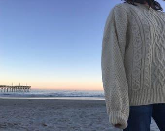 Hand Knit Wool Ecru Fishermans Sweater made in Ireland XL