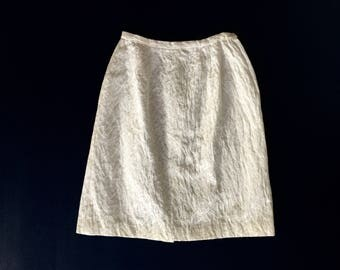 50's Vintage High Waisted White Brocade Pencil Skirt / Women's xs / s size 24