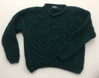 Lands End Cable Knit Wool Sweater / Mallard Green Pullover Roll Neck Sweater women's L / XL Mens M / L