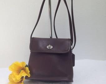 COACH TANGO Crossbody, rich mahogany brown leather, handbag, purse, made in Costa Rica - Style 9049