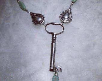 Vintage Skeleton Key w/green Turqouise and silver Teardrop beads