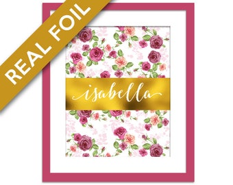 Custom Name Gold Foil Art Print - Pink Floral Wall Art - Personalized Poster - Nursery Art - Personalized Name Art Print - Gold Custom Print