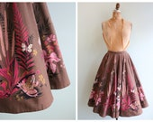 Vintage 1950's Pink Pond Novelty Print Circle Skirt | Size Extra Small