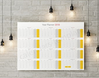 Year Planner 2018 modern horizontal large wall planner agenda annual template - KP-W11