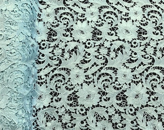 """Mint Lotus Guipure French Venice Lace Embroidery 52"""" inches wide many colors"""