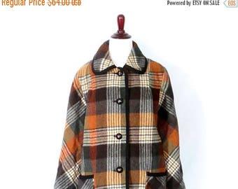 Vintage 70's Plaid Coat Wool Blend Plaid Coat 1970's Earth Tone Tartan Plaid Wool Blend Retro Coat Vintage Winter Coat