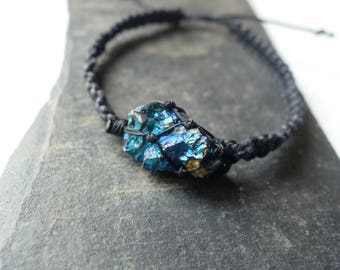 Raw Chalcopyrite stone and black macrame bracelet