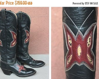 Summer Sale Vintage Hondo Cowboy Boots Mexicana Boots - 1980's Western Boots - Size 6.5