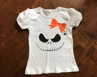 Toddler Girl The Nightmare Before Christmas, Jack the skeleton, puff sleeve top.