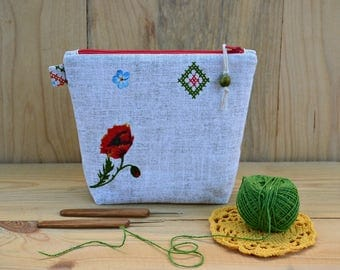 Knitting notions bag Wedge zipper bag Crochet hook pouch Wedge knitting tote Sock project bag  Poppy Makeup Bag Stitch marker bag Travel bag