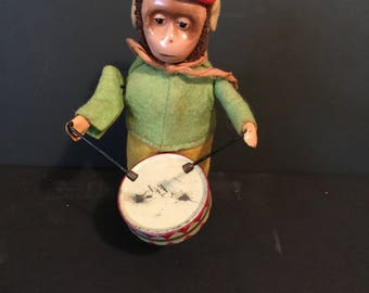 Vintage Schuco 1930's Rare Wind Up Litho Toy Drumming Monkey with Scarf