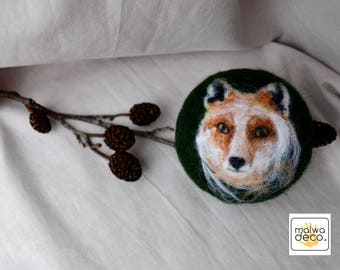 Fox decor red fox ears red tail wild animals miniatures handmade nature felted gift woodland ooak for him window decor Christmas decoration