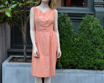 ON SALE Peach Sunset dress   vintage 1950s dress   peach cotton 50s dress