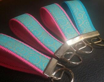 Key Chains-Key Rings-Key Fobs-Turquoise n' Gold Swirl n' Hot Pink n' Turquoise Webbing