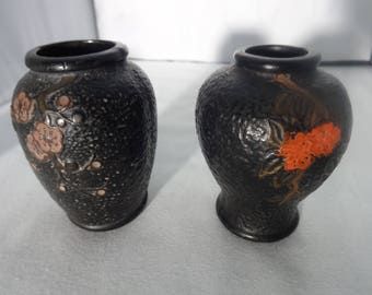 Vintage Black Tokanabe Ware Pair - Set of 2 Vases Japanese Pottery Cherry Blossoms Textured