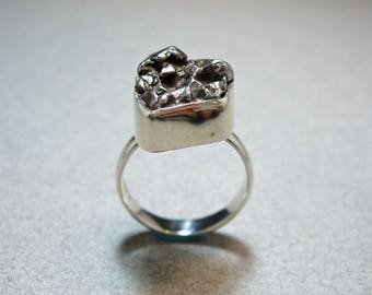 Handsome Hefty Sterling Silver 17x14mm Meteorite Ring Size 9 1/4 One of a Kind Special Find by Energy Stone (sku#1028)