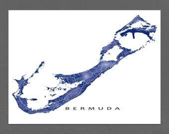 Bermuda Map Print, Caribbean Islands, Bermuda Art Poster