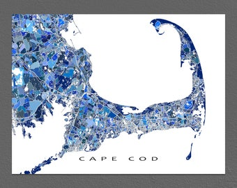 Cape Cod Art, Cape Cod Massachusetts Map Print, Provincetown MA