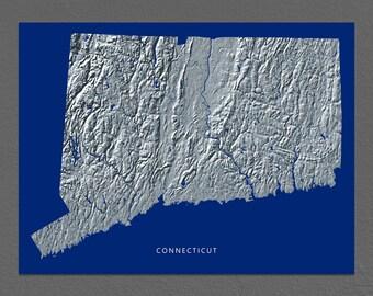 Connecticut Map, Connecticut Wall Art, CT State Art Print, Landscape, Navy Blue