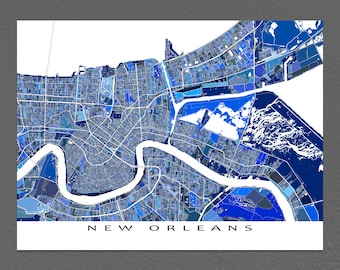New Orleans Map Print, Map of New Orleans Louisiana City Map, Street Art Blue