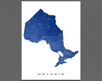 Ontario Map Print, Ontario Canada, Province Map, Toronto, Ottawa, Landscape Art