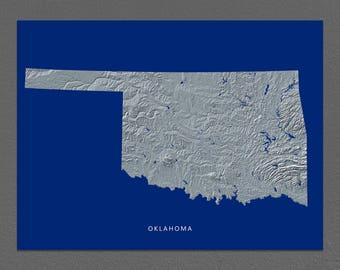 Oklahoma Map, Oklahoma Wall Art, OK State Art Print, Landscape, Navy Blue