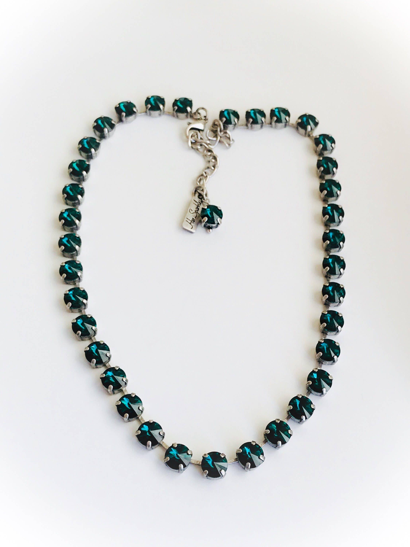 Emerald Crystal Necklace, Swarovski Crystal Elements Necklace in ...
