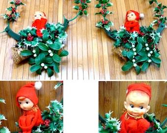 Vintage elf knee hugger-rare napco christmas elf-boy girl elf knee huggers-knee hugger couple pair holly mistletoe hanging-christmas in july