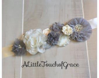 Maternity sash. Gray and Ivory sash.vintage baby shower sash
