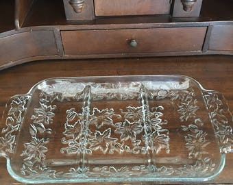 Vintage Cut Glass Serving Tray, 3 sections, Old Glassware for entertaining a must for the Holidays