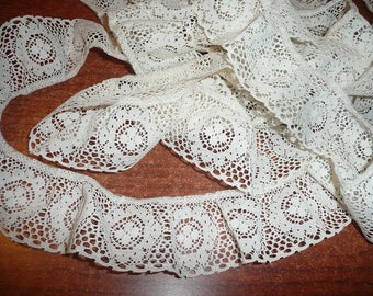2 Yards Cream Colored Gathered 2 Inch Wide Lace