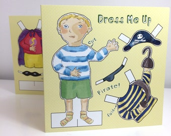 Cut Out and Dress Up Doll Activity Greetings Card