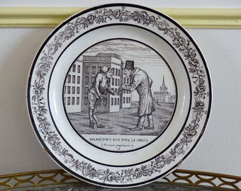 Choisy le Roi. French ironstone plate. Black and white decor. Circa 1820. Brothers Paillart era.
