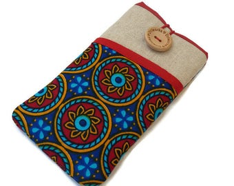 African Fabric iPhone 8 Wallet Case, iPhone 6 case iPhone 5 case, iPhone 7 case, iPhone 7 Plus sleeve, iPhone X Pouch, iPhone 8 Plus Sleeve