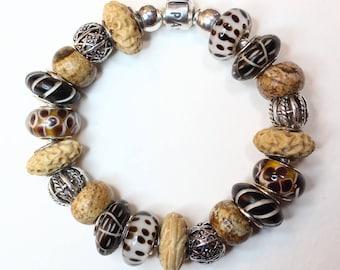 GEMS and BONES ~ with optional Genuine Pandora Bracelet & European Style Beads/Charms