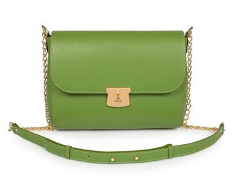 Leather Crossbody Bag, Green Leather Shoulder Bag, Women's Leather Cross body Bag, Leather bag KF-917