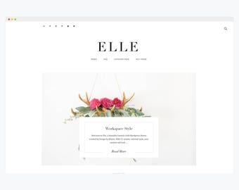 "WordPress Theme- Minimalist Blog Ecommerce Theme- Genesis Theme- WordPress Website- Fashion Blogger Theme- ""Elle"" Instant Download"