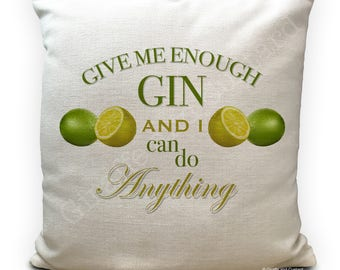 Gin and Tonic Lover Cushion Cover Gift - Home Decor - Lemon and Lime - Alcoholic drink gift - 40cm 16 inches