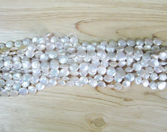 """Light Pink Freshwater Coin Pearl - 15"""" Strand (12mm)"""
