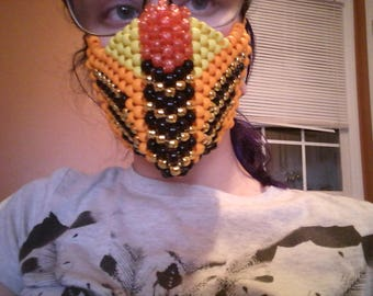 Rave kandi mask orange adjustable strap