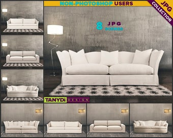 Living Room SC-04 | White Sofa Dark Interior | 8 JPG Blank Living Room Wall Styled Scenes | Wall Decor Scene Creator