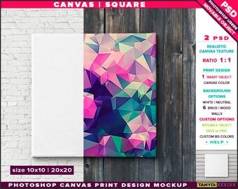 10x10 12x12 Canvas on Wall | Photoshop Print Mockup C1010-W | Movable Unframed Square | Bricks Wood | Smart object Custom colors