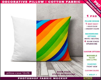 12x16 Decorative Pillow Cotton Fabric | Photoshop Fabric Mockup M1-1216-0 | Room stage | Cushion on wood floor | Smart Object Custom colors