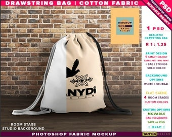 Drawstring Bag Cotton Fabric | Ratio 1.25 | Photoshop Fabric Mockup DB-M2-1 | Backpack on Wooden Floor | Smart Object Custom colors