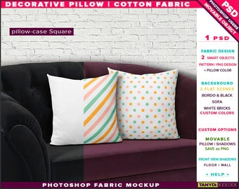 Square Decorative Pillow Cotton Fabric | Photoshop Fabric Mockup M1-S-4 | Set of 2 Cushions on Black Sofa | Smart Object Custom colors