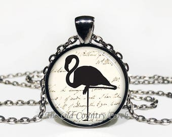 Flamingo With Script Writing Background -Glass Pendant Necklace/mothers day/Gift for her/girlfriend gift/friend gift/birthday gift
